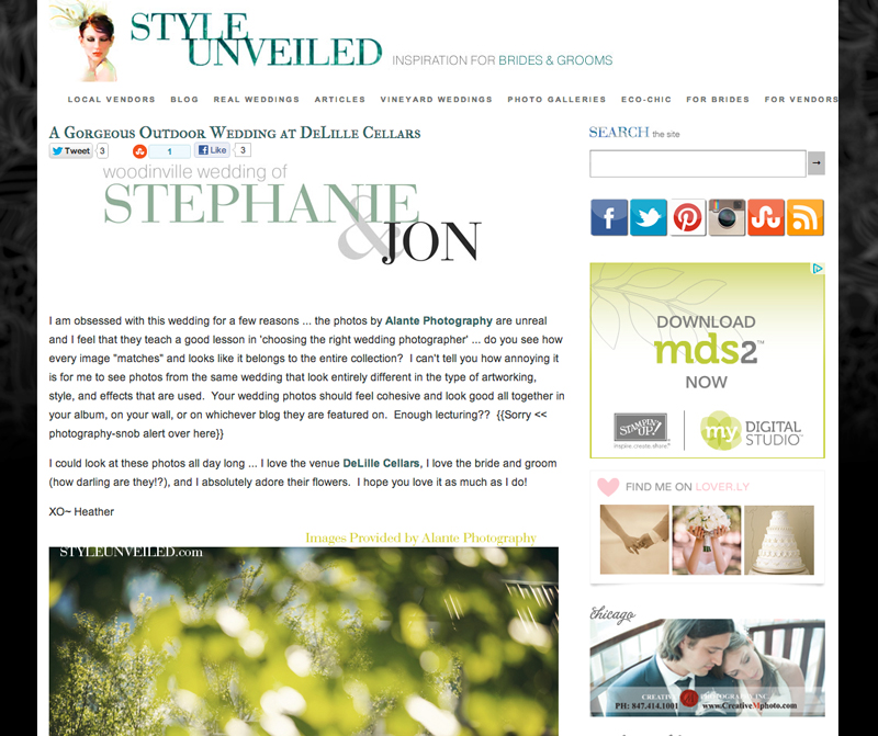 DeLille Cellars Wedding featured on Style Unveiled