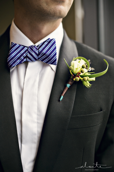Purple striped bowtie on a groom