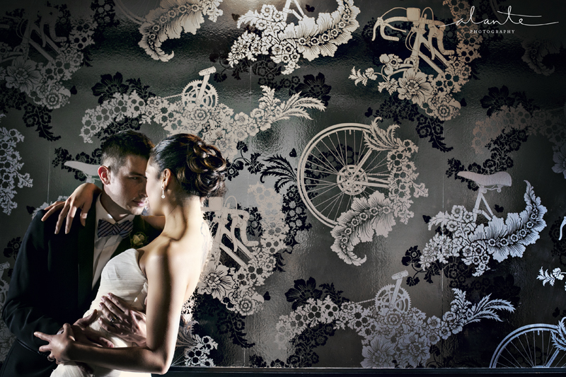Wedding Couple at the Columbia Tower Club with Metallic Wallpaper