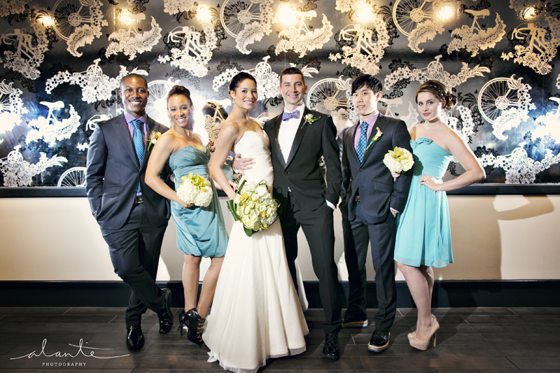Wedding Party at the Columbia Tower Club with Metallic Wallpaper