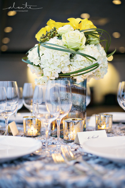 Pretty wedding tabletop design by Shindig Events and Ravenna Bloom at Columbia Tower Club