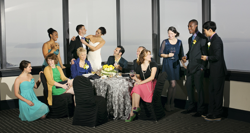Wedding guests having fun at Columbia Tower Club