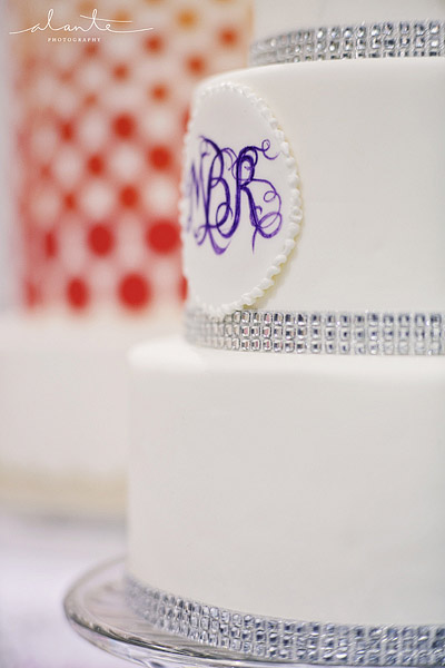 Sweet Side wedding cake with rhinestones and purple monogram
