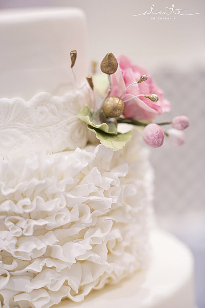 Sweet Side white on white ruffled wedding cake