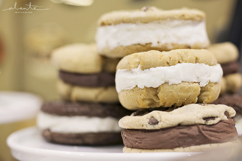 Sweet side homemade ice cream sandwiches for a wedding