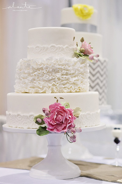 White ruffle wedding cake from The Sweet Side