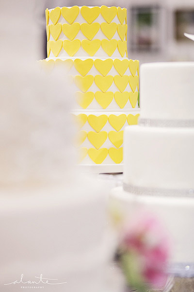 Yellow heart wedding cake from The Sweet Side