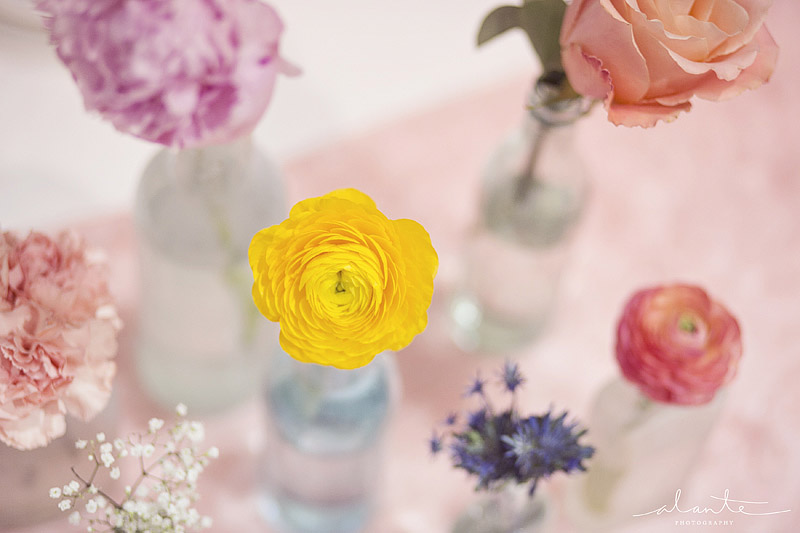 Pastel single stem wedding flowers