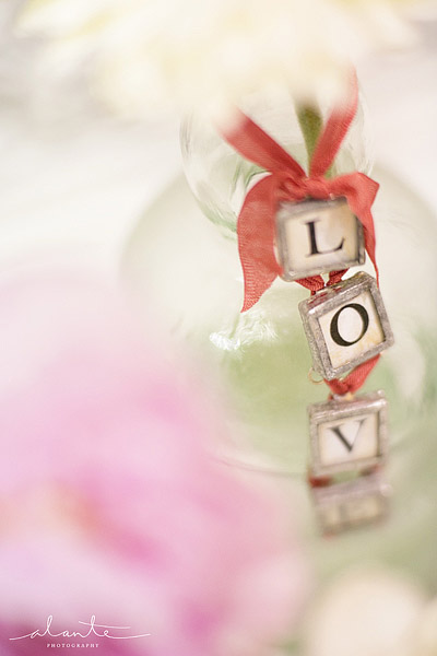 Love spelled on a flower vase