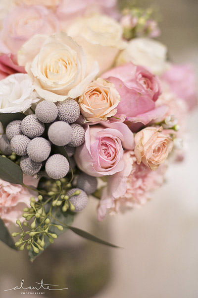 Grey and pink wedding bouquet from Laurel's Florals