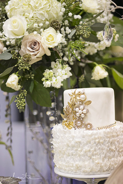 Tallant House white and gold ruffled wedding cake