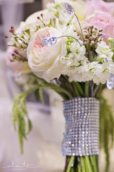 Pink and white pastel wedding bouquet with rhinestone wrap from Laurel's Floral Decor