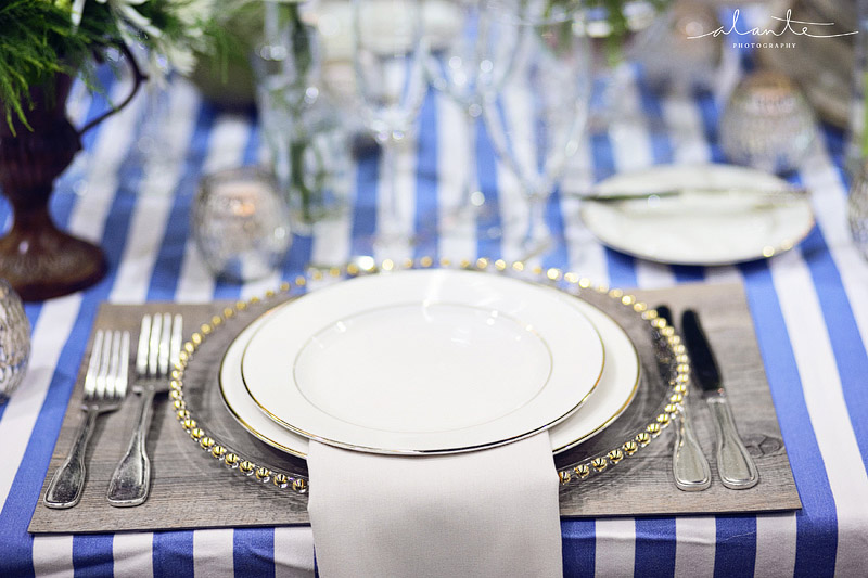 Nautical blue stripes with wood and gold wedding table