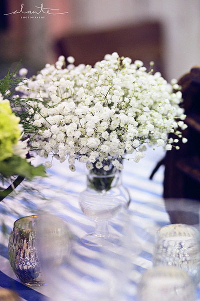 Nautical wedding with babys breath flowers