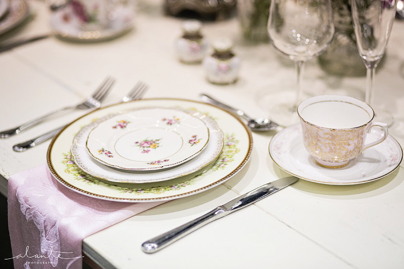 Vintage china for a wedding place setting