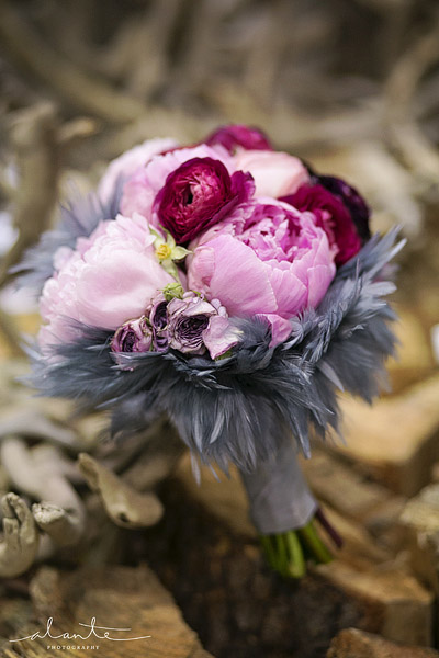 Pink and grey peonie wedding bouquet
