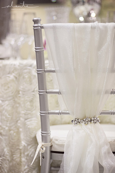Silver chiavari chair with white and rhinestone chair cover