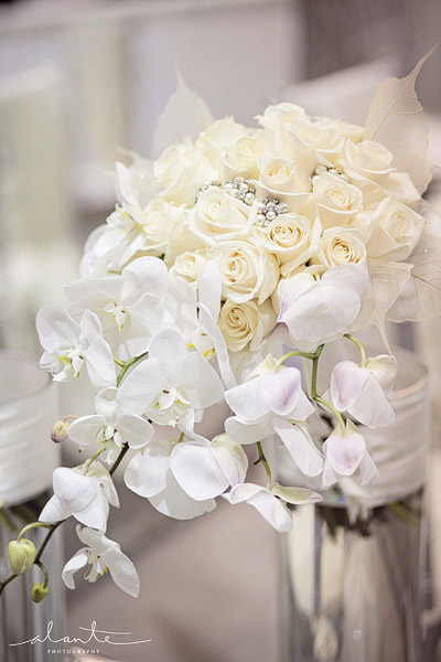 All white wedding bouquet with phalaenopsis orchids