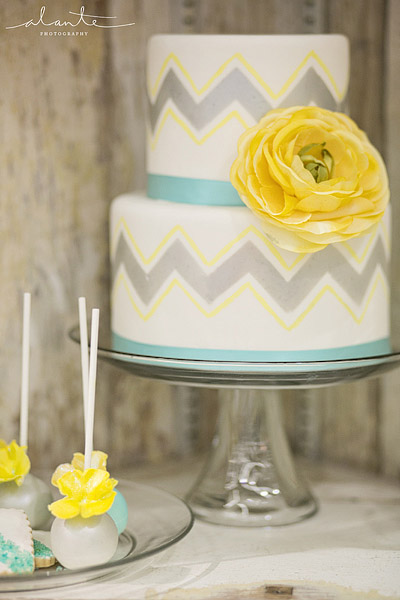 Yellow and grey chevron wedding ideas