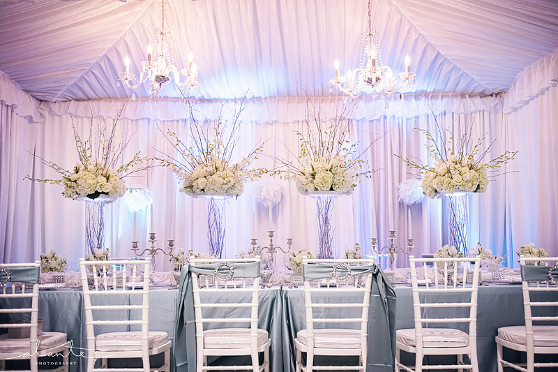 White silver and blue wedding decor