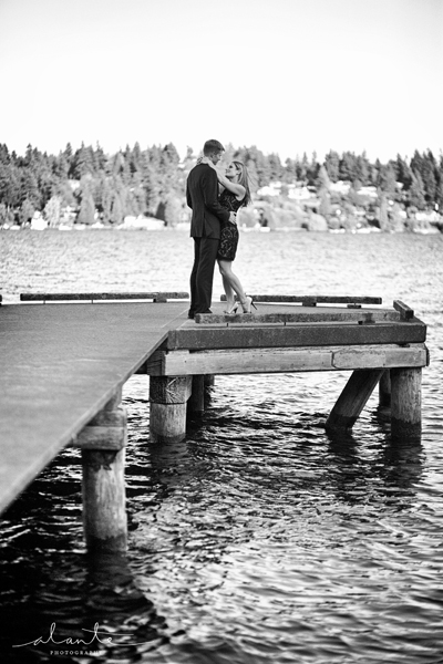 Pretty Engagement Picture on a Dock in Seattle www.alantephotography.com