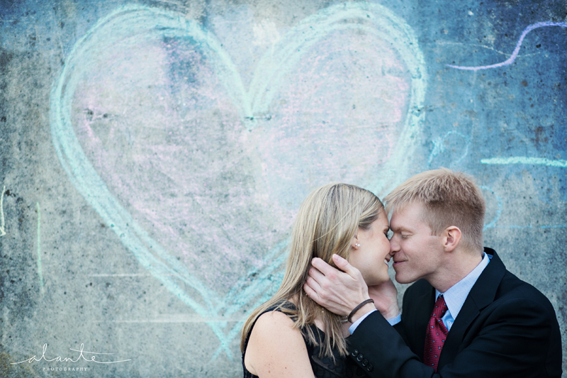 Chalk heart engagement session www.alantephotography.com