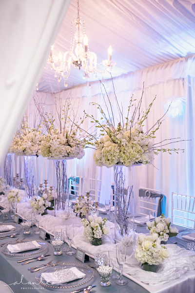 White and blue wedding d cor from grand event rentals for Blue and white weddings